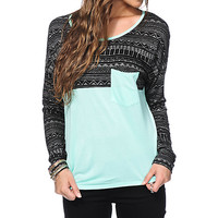 Empyre Corey Mint & Tribal Print Top
