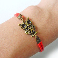 jewelry bangle owl bracelet leather bracelet women bracelet girls bracelet with antique bronze owl bracelet and red leather SH-0217