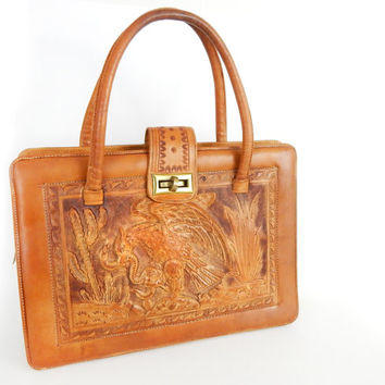 Vintage 50s 60s Mexican Tooled Leather Handbag - Aztec Eagle Devouring Snake Embossed Whiskey Colored Leather Purse - Mayan Calendar Bag