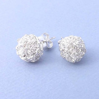 Silver Ball Stud Earrings - 925 sterling silver post - Simple everyday delicate jewelry