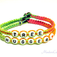 Neon Tree Hugger Bracelets, Macrame Hemp Jewelry, Made to Order