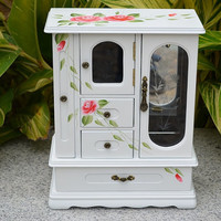 Deluxe Handmade White Jewelry Box/ Jewellery Box/ Holder/ Cabinet with Hand-drawn Pink Roses, 6 Main Compartments, Handmade Christmas Gift