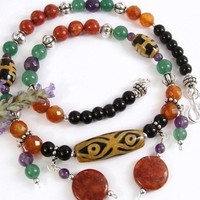 Tibetan Dzi Glass Bead and Gemstone Necklace, Carnelian, Amethyst, Coral, Obsidian