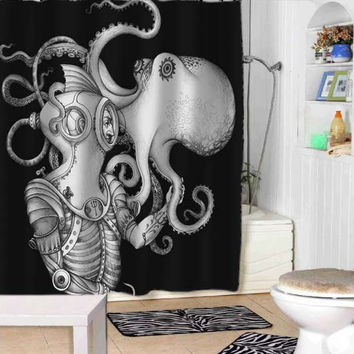 Deep Sea Discovery Octopus shower curtains adorabel bathroom and heppy shower.