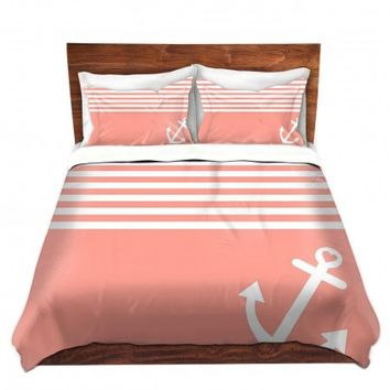 Duvet Covers and Shams Unique Decorative Designer | Organic Saturation's Coral Love Anchor Nautical