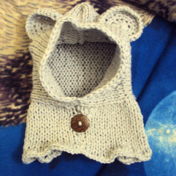 Knitting Pattern Bear Hoodie : Babies Knit Hooded Bear Cowl Scarf Hoodie from ...