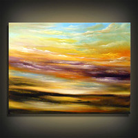 abstract painting original painting large art landscape painting cloud yellow Original Painting tree painting nature 22 x 28