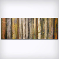 art original abstract painting earth tone weathered wood art knife painting texture earth tone rustic stripe Original Painting 18 x 48