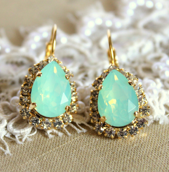 Crystal mint sea foam earring - 14k plated gold post earrings real swarovski rhinestones .