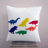 Children decor: kid&#x27;s dinosaur pillow - rainbow dinos, colorful eco felt appliques on white organic cotton pillow cushion