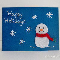 Happy Holidays Snowman Embroidered Christmas Card with Envelope