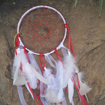 Red Dream Catcher, Large Handmade Wall Art, Child Bedroom or Nursery Wall Decor, White Indian Feather Art, Bohemian, 7 inch