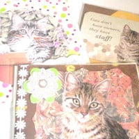 Cat cards greeting blank any occasion kitty set of three
