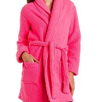 Super Soft Sherpa Fleece Robe by Charlotte Russe - Hot Pink