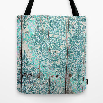Teal & Aqua Botanical Doodle on Weathered Wood Tote Bag by micklyn