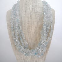 Sparkling Blue Aquamarine Chip Five Strand Necklace Silver Toggle Fashion under 40