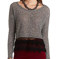 Embroidered Mesh & Marled Metallic Top - Black Combo