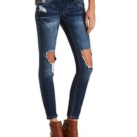 Destroyed Dark Wash Skinny Jeans by Charlotte Russe - Dark Wash Denim