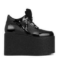 Y.R.U. Qozmo High Platform Sneaker in Black Glitter