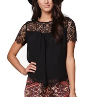 LA Hearts Elbow Sleeve Lace Top - Womens Shirts