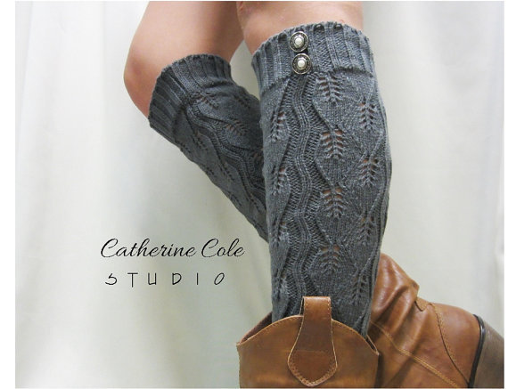 Open Crochet Knit Leg Warmers Charcoal Grey Womens Leaf Pattern