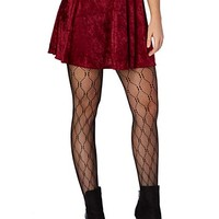 Crushed Velvet Skater Skirt