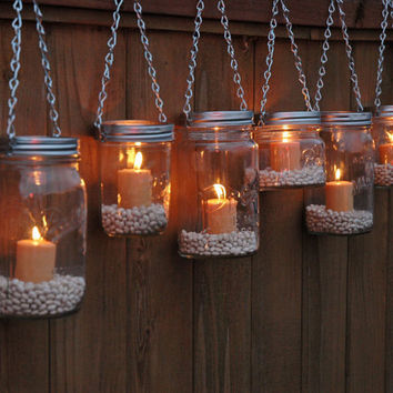 Mason Jar Lanterns Hanging Tea Light Luminaries - Set of 6 - Silver Chain - Wide Mouth Mason Jar Style