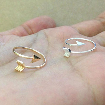 Arrow ring. Arrow knuckle ring. silver ring, gold ring. adjustable ring. above the knuckle.