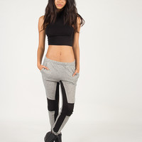 Quilted Knee Jogger Pants - Gray /