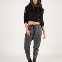 Oversized Pocket Jogger Pants - Charcoal /