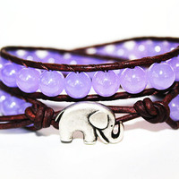 Elephant Bracelet, Leather Beaded Wrap Bracelet 2x, Elephant Jewelry, Lavender Purple Jade, Bohemian, Lucky Jewelry