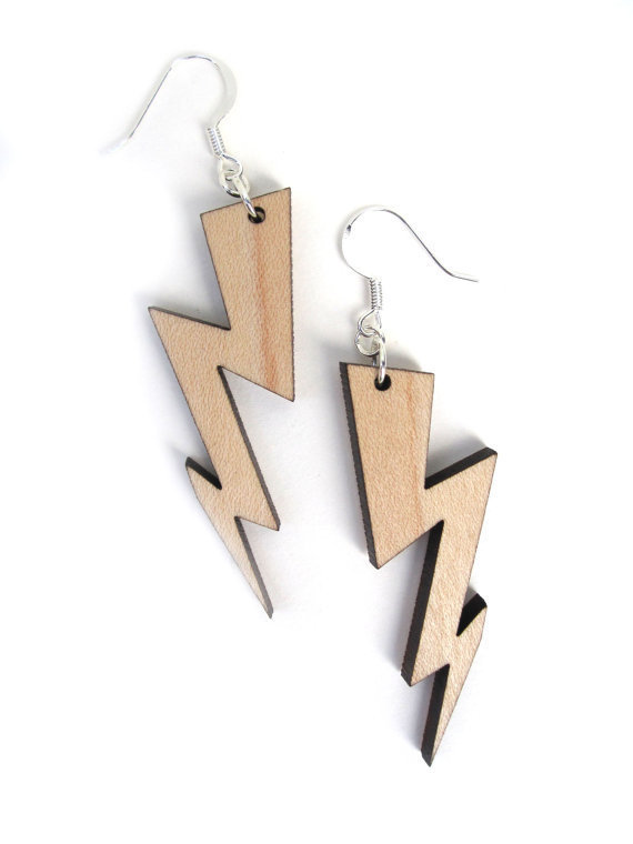 Laser Cut Earrings - Maple Wood Large Lightning Bolt Earrings - Made to Order Summer Fashion Jewelry For Her