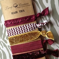 Florida State Seminoles FOE Hair Ties Maroon and Gold Glitter Ruffle Chevron elastic Texas State University