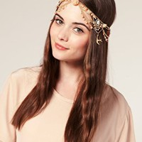 ASOS | ASOS Draping Chains Crown Headband with Enamelled Flower and Hanging Charms at ASOS