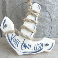 Anchor Party Favor Salt Dough Ornament / Nautical Beach  Decor