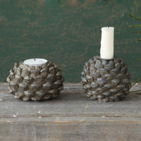 Pinecone Glow Candle Holders - Set of 2