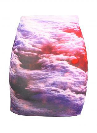 Galaxy Cloud Print Fitted Mini Skirt with High Waist