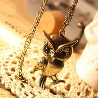 Discount China china wholesale Retro Vintage Smart Owl With Big Black Eye Cute Pendant Necklace Chain 5152 [5152] - US$1.99 : Bluelans
