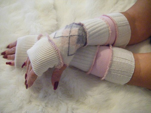 Upcycled Sweater Arm Warmers Ivory/Pink/Grey