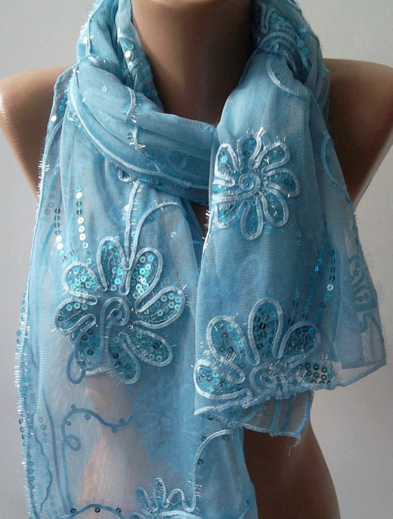 Blue - Elegant Shawl / Scarf..