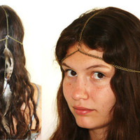 Head Dress no1 Chain and Feather Popular Limited by HaleyLouise