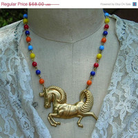 Circus Carnival Horse Necklace Carousel Bright Colors Primary Red Blue Orange Beads