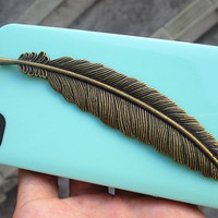 BRASS  Feather Light Green Iphone 4 Case, Iphone 4S case, Hard case, For Iphone 4, Iphone 4s