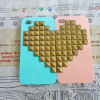 Beautiful iPhone 4 4S hard Case Cover with Heart-shaped bronze pyramid stud For iPhone 4 Case, iPhone 4S Case,iPhone 4 GS hand case -143