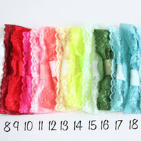 Lace Headband set of 5 your pick 24 colors 2 inch wide Fits Newborn Infant Toddler Little Girls Elastic Lace Headband with Attached Loop