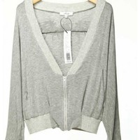 Spring and Autumn Summer Women V Neck Long Sleeve Zipper Print Bat Viscose Grey Top Thin Coat S/M/L@IM511212241g $50.99 only in eFexcity.com.