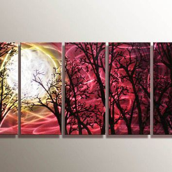 Midnight Moon - Original Metal Painting Art by Donghua Artist