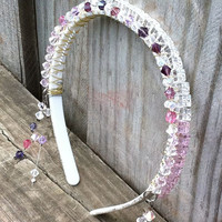 pink and purple crystal wire wrapped headband, wedding accessories, hair accessories, bridal accessories, prom accessories