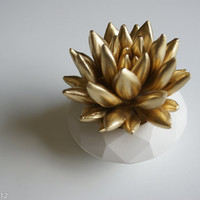 Gold Succulent Sculpture, White Modern Faceted Geometric Container, Tabletop, Centerpiece
