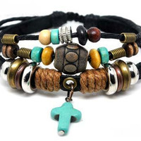 Women/Couple Bracelet Soft Leather Bracelet with Color Bead Crossing Pendant Wristband Cuff Bracelet  1244A